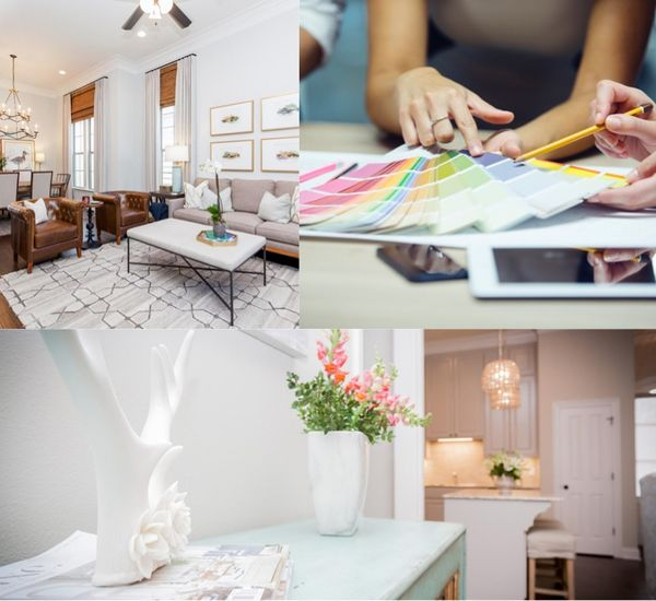 photo collage showing stylish home interiors and customers choosing paint colors