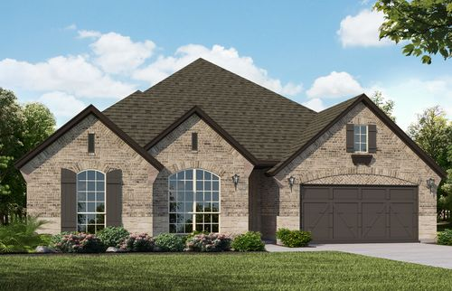 Plan 1602 Elevation A with Stone by American Legend Homes
