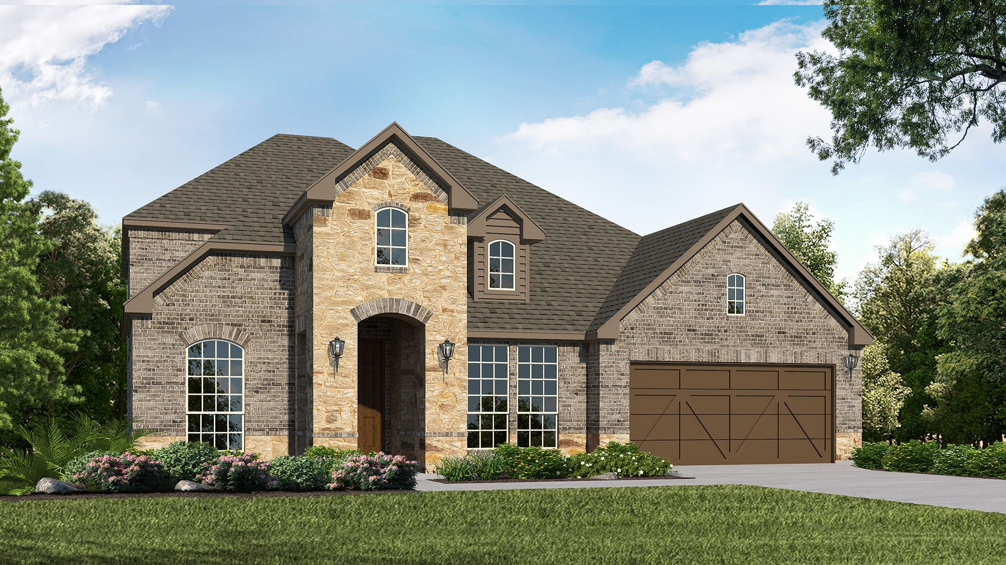 Plan 1604 Elevation A with Stone by American Legend Homes