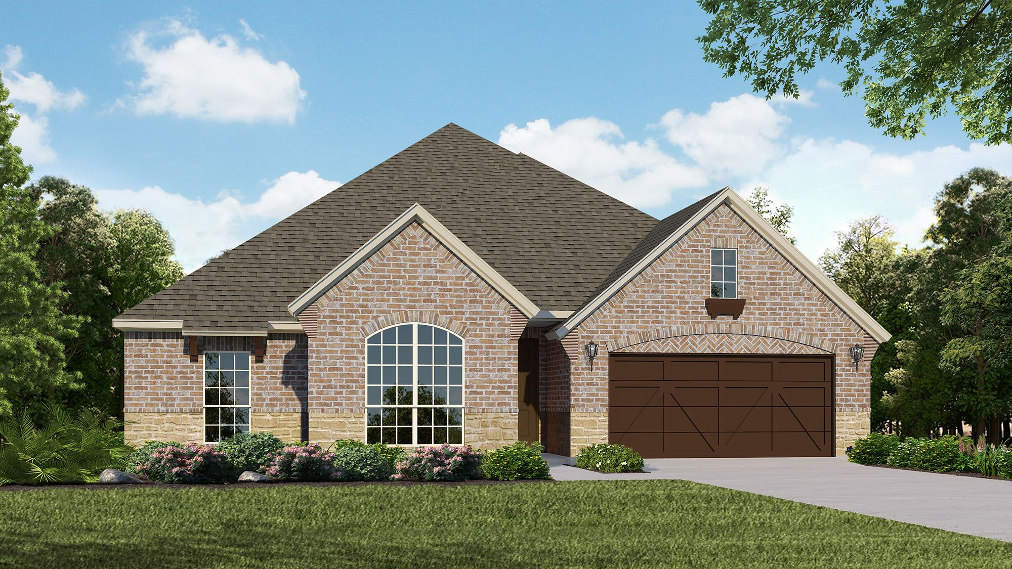 Plan 1606 Elevation A with Stone by American Legend Homes