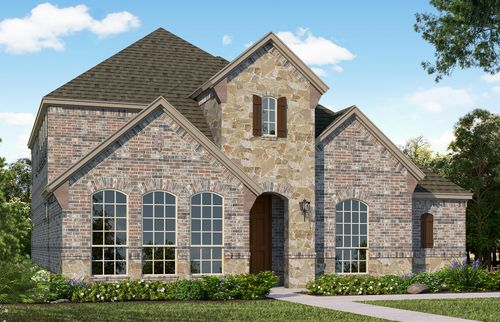 Plan 1594 Elevation A with Stone by American Legend Homes