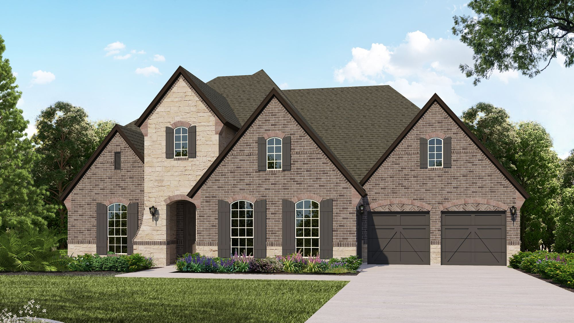 Plan B834 Elevation C with Stone