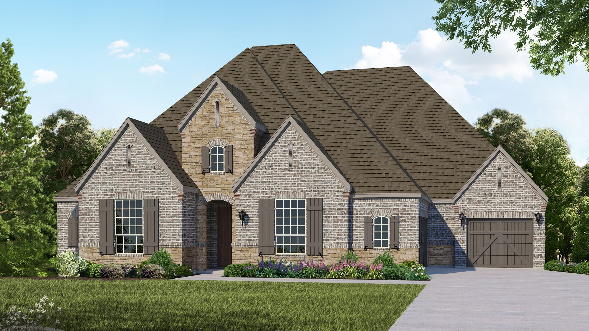 Plan B914 Elevation D with Stone