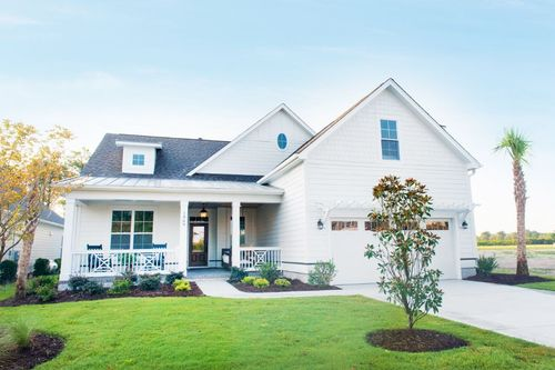 New home exterior with coastal color palette