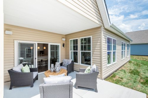 The Caroline private couryard outdoor living cornerstone homes