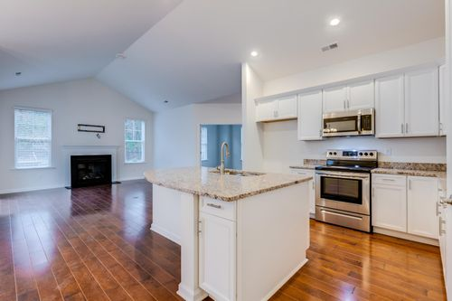 The Colonnade Villa Home Kitchen and Great Room Hardwood Floors Fire Place