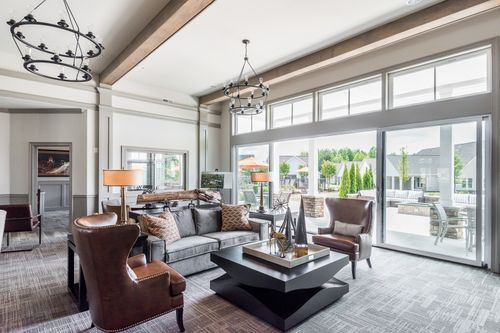 Barley Woods Clubhouse Sitting Area large sliding glass doors to patio