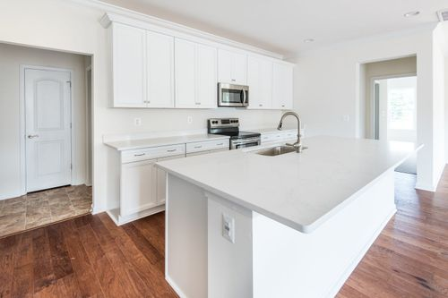 The Amelia Kitchen White Cabinets hardwood floor kitchen island