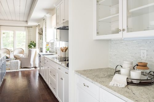 cornerstone homes model home kitchen white cabinet hardwood floor