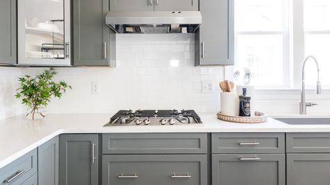 Gourmet Kitche grey cabinets