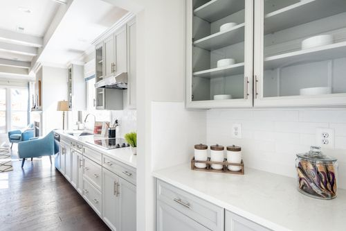 The Washington Model Butler's Pantry Gourmet Kitchen White cabinets Hardwood Floors