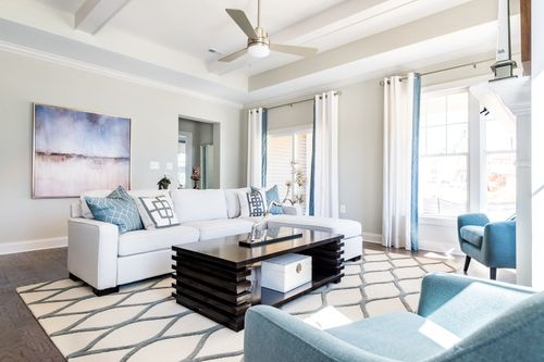 Model Home Great Room seating natural light cornerstone homes