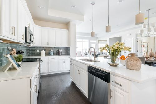 The Canterbury Kitchen white Cabinets Villa Home Open Floor Plan