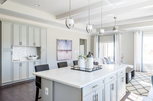 The Washington Kitchen Island shelving barstools open floor plan white cabinets