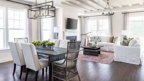Dining table and living space open floor plan