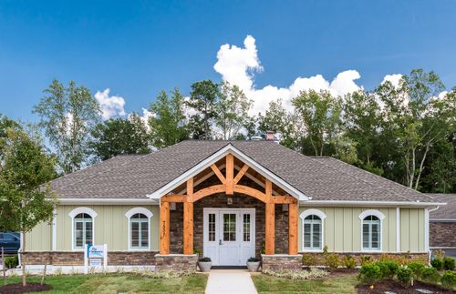 The Villas at Ashlake Clubhouse Exterior Front View 55+ Living Amenities Cornerstone Homes