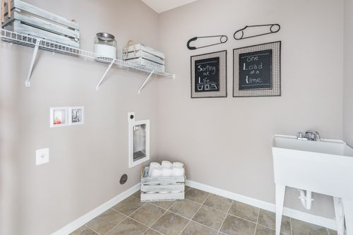 Laundry room shelving skin tile flooring