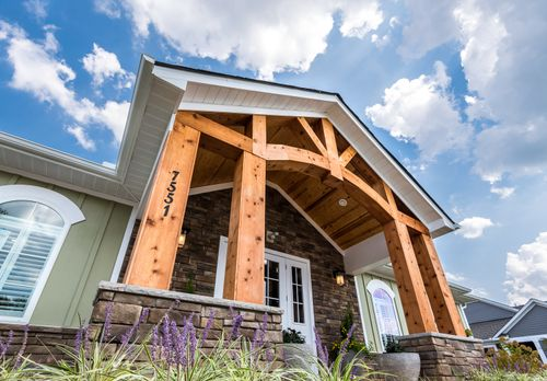 Villas at Ashlake Clubhouse Entrance Close Up 55+ Living Cornerstone Homes