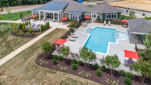 Barley Woods Clubhouse and pool aerial view fire pit grill patio resort style amenities