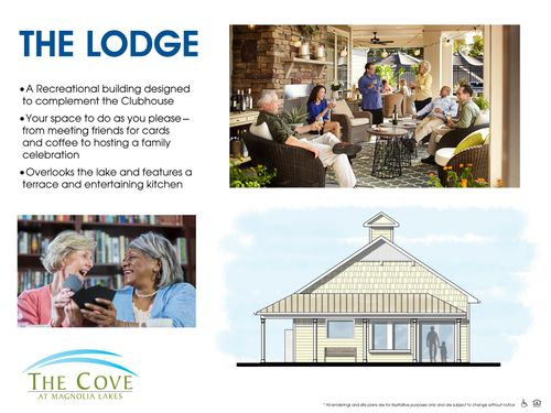The Lodge Rendering complementing the clubhouse over looking the lake resort style amenities