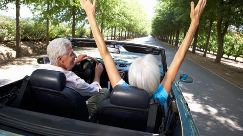 Active adults in a convertible