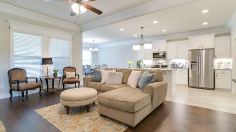 White Kitchen with Stainless Steel Appliances and Granite and Large Decorated Living Room - Park Place Community - DSLD Homes- Huntsville, Alabama
