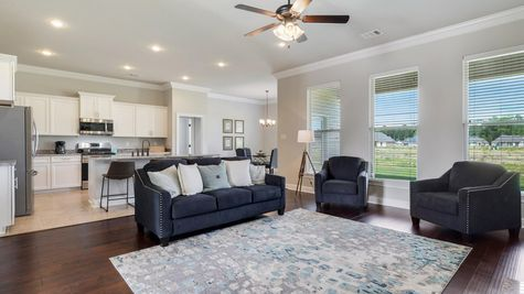 Living Room Decor and Kitchen - Nickens Lake- DSLD Homes Denham Springs