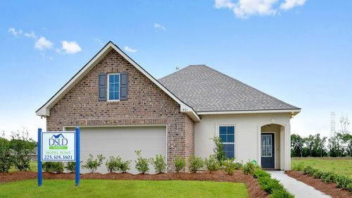 Model Home- Front Elevation - stucco- painted door- DSLD Homes- Baton Rouge area - St. Gabriel- Louisiana- Meadow Oaks