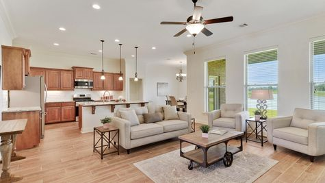 Living Room and Kitchen  - The Reserve at Conway Community - DSLD Homes - Baton Rouge