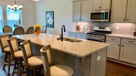 Painted Kitchen Cabinets and Stainless Steel Appliances - Nature's Trail - DSLD Homes Huntsville