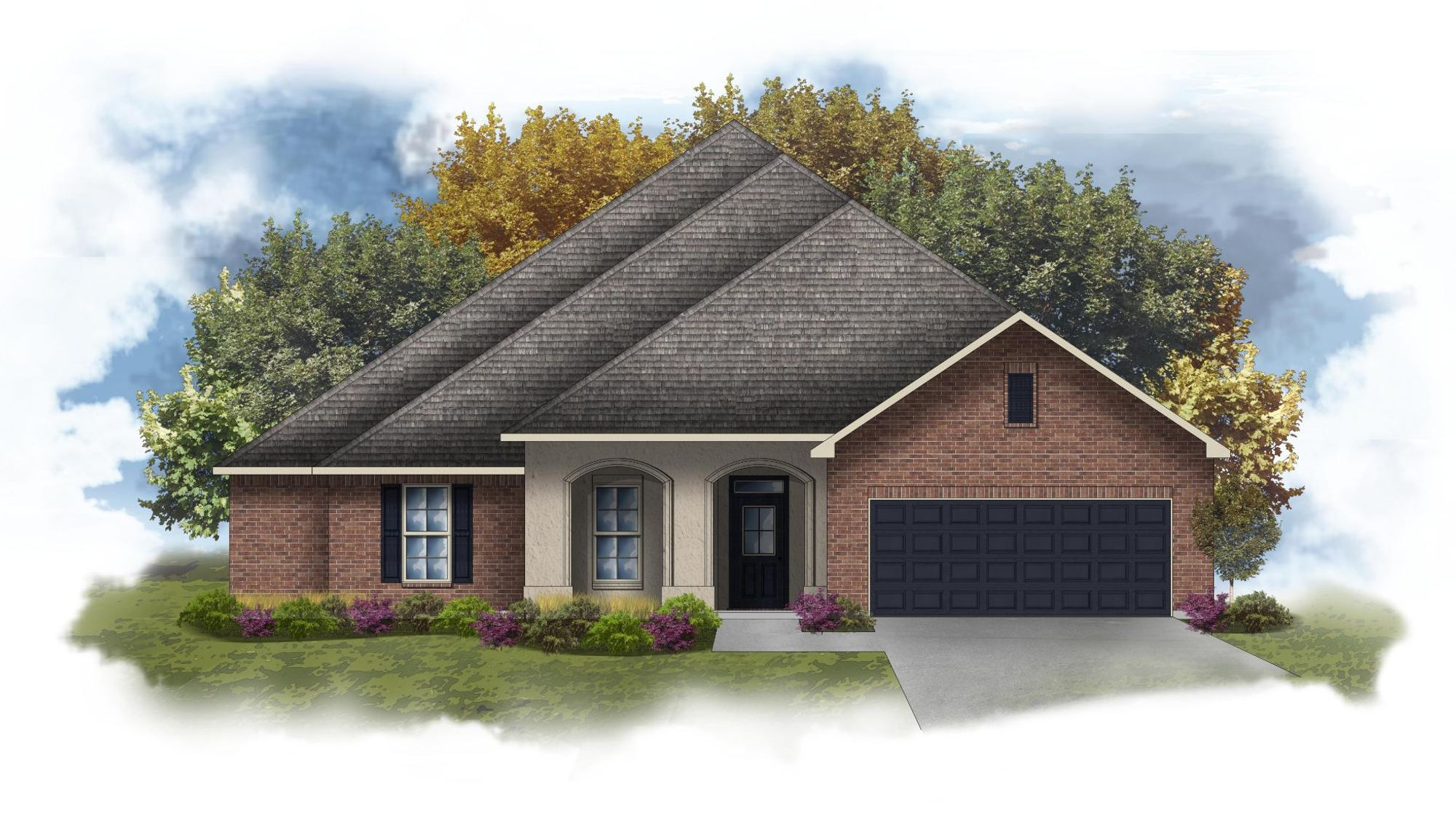 Fairbanks IV A - Front elevation - Open floor plan