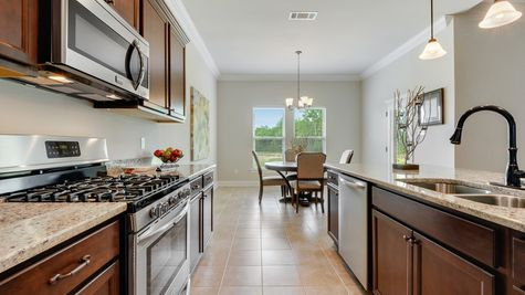 Brown Kitchen Cabinets with Stainless Steel Appliances - Savoy Place - DSLD Homes Gulfport