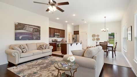 Living Room- natural light- open floorplan- wooden floor- tile floor- Model Home - DSLD Homes- Baton Rouge area - St. Gabriel- Louisiana- Meadow Oaks