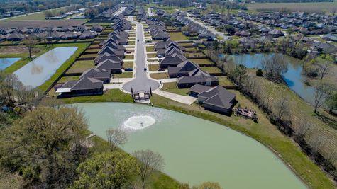 Paige Place Aerial View - DSLD Homes - Community Pond - Broussard, LA