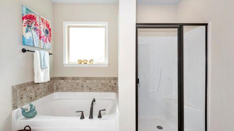 Ivanhoe II A Stone - Newby Chapel Community - DSLD Homes - Madison, AL - Model Home Master Bathroom