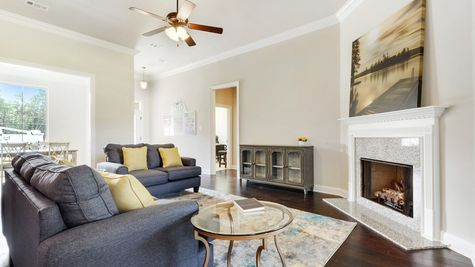 Living Room with Decor and Fireplace - Castine Pointe - DSLD Homes Long Beach