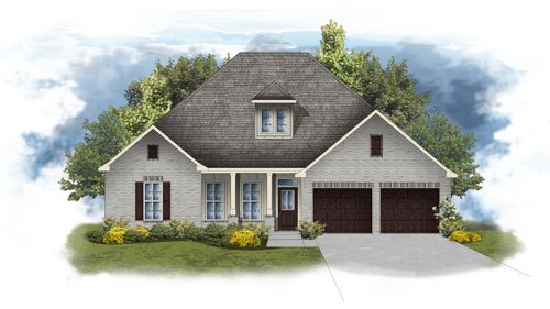 Calcasieu II A - painted front elevation - open floor plan