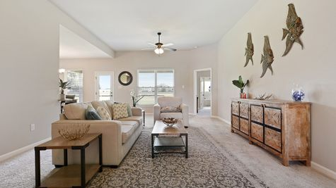 Living Room in Model Home - DSLD Homes - St. David's Cove in Youngsville