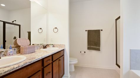 Master Bathroom- natural light- open floorplan- garden tub- walk in shower- tile floor- granite countertops- bronze hardware- stained cabinets-Model Home - DSLD Homes- Baton Rouge area - St. Gabriel- Louisiana- Meadow Oaks