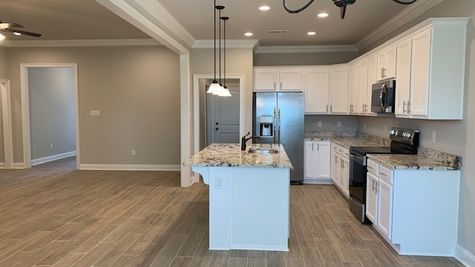 Lafayette Place Model Home- Alabama- DSLD Homes- Kitchen and Living Room