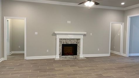 Lafayette Place Model Home- Alabama- DSLD Homes - Living room with fireplace