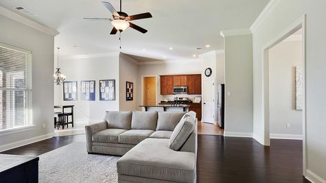 Living Room- wooden floors- agreeable gray walls- natural light- open floor plan- model home- dark stained cabinets- DSLD Homes - Highland Oaks- Gray- Louisiana- Thibodaux area