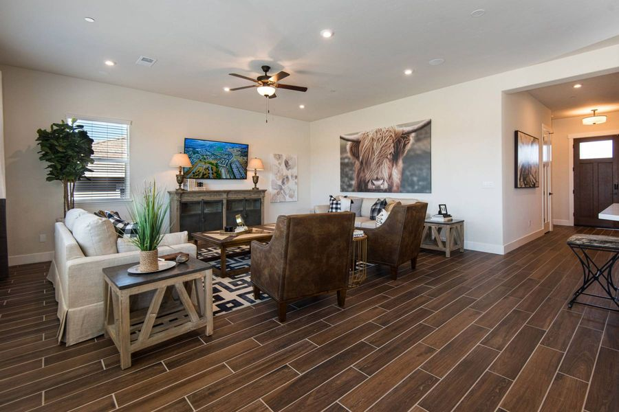 living room in a new home by a sacramento home builder