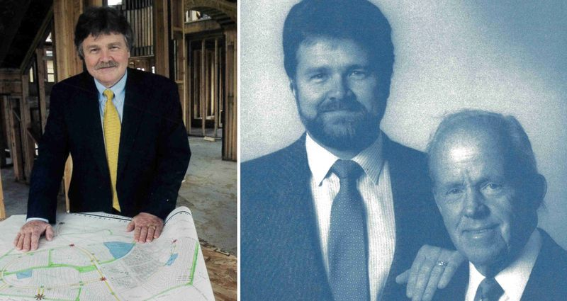 Image of HC Elliott on the left. Image of HC Elliott with his father on the right.