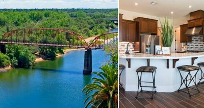 2 image collage. Image on left is of bridge going over the river. Image on right is of an Elliott Homes kitchen.