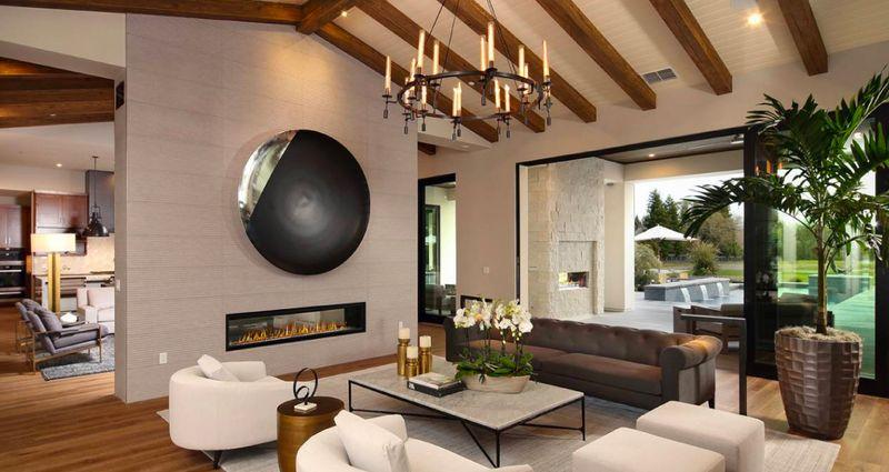 Image of interior living space for a custom Elliott Homes home.