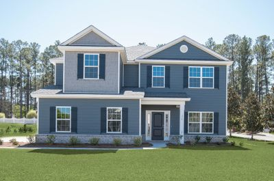 Elevation B with side entry garage and Hardieboard siding per community standards