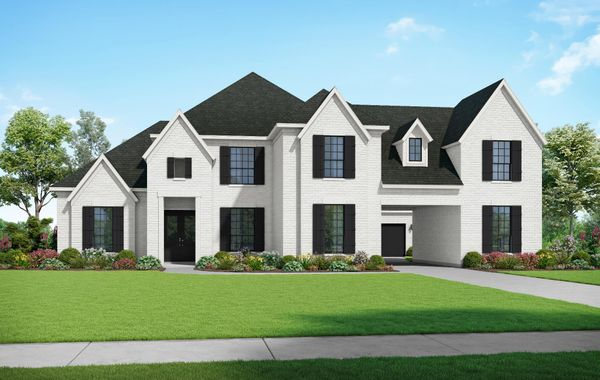 The Yorktown- Elevation F1. Images are artist renderings and will differ from the actual home built.
