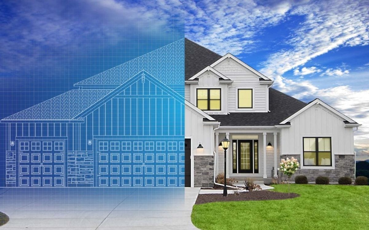 Home with blue print overlay