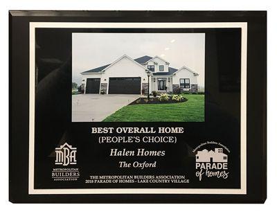 Best Overall Home Award 2018 - Halen Homes